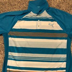 Men's XL Blue/White stripped Puma Golf Polo Shirt